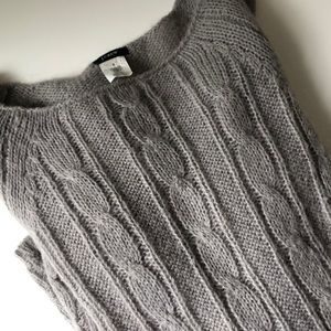 J. Crew Gray Wool Blend Cable Sweater